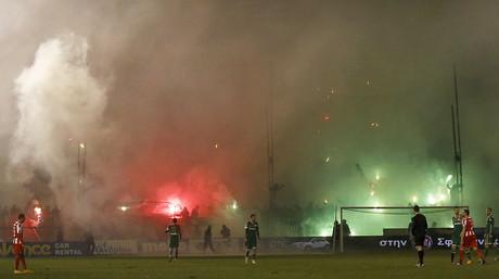 Aspecto del Apostolos Nikolaidis Stadium, el domingo pasado, durante el derbi entre el Panathinaikos y el Olympiacos