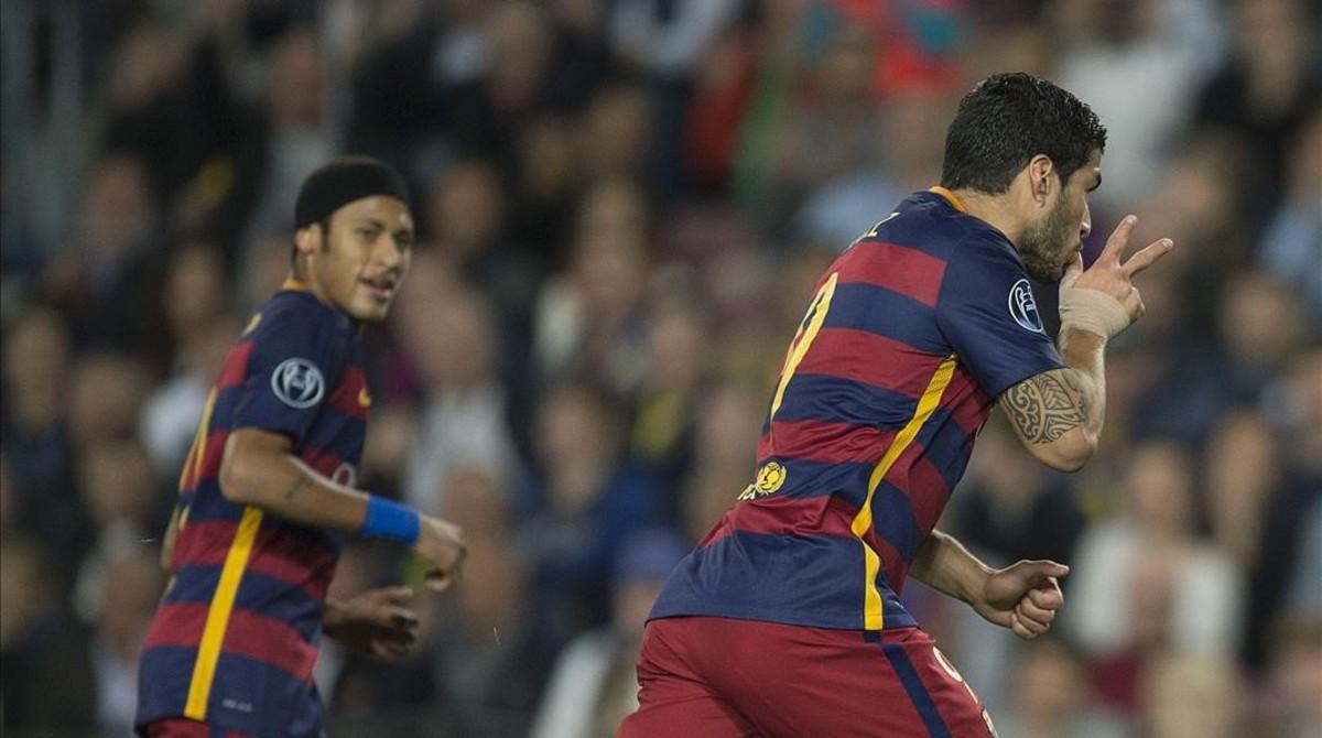 Luis Suárez celebra su gol al Bate Borisov en la Liga de Campeones.