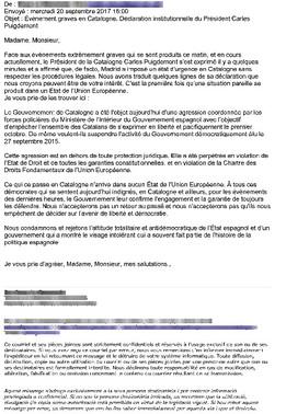 Correo electrónico de la delegación francesa de la Generalitat