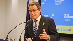 Artur Mas, en su comparecencia por su renuncia a la presidencia del PDECat.