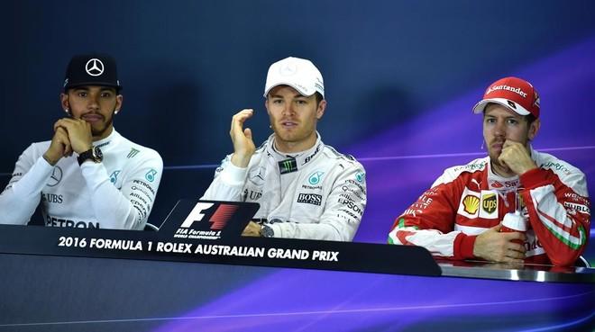 Hamilton, Rosberg y Vettel, el pasado domingo tras el GP de Australia.