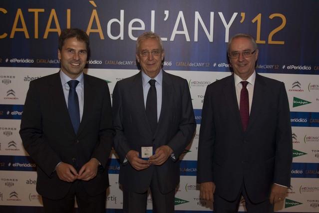 El jefe de prensa de El Corte Inglés en Catalunya, Jordi Romañach; su director general, Josep Miquel Abad, y el de relaciones externas, Jordi Pintó.