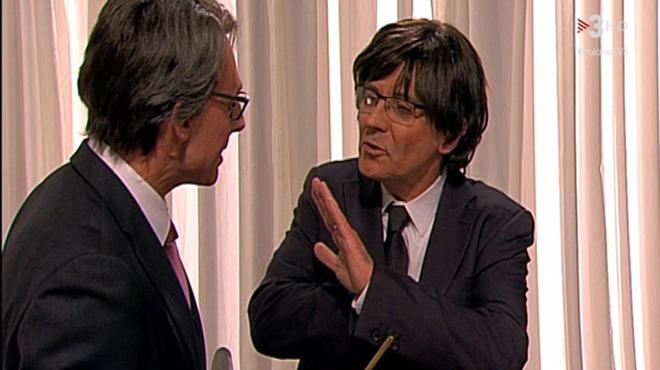 Queco Novell i Bruno Oro, o l'entrant i el sortint ('Polònia', TV-3).