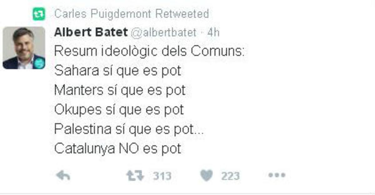 El polèmic retuit de Puigdemont contra els comuns