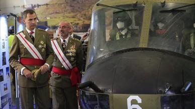 El rey Felipe durante una visita a una base en Colmenar Viejo (Madrid), el pasado 23 de junio.