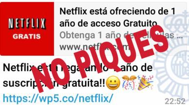 Un nou engany per Whatsapp promet un any de Netflix gratis