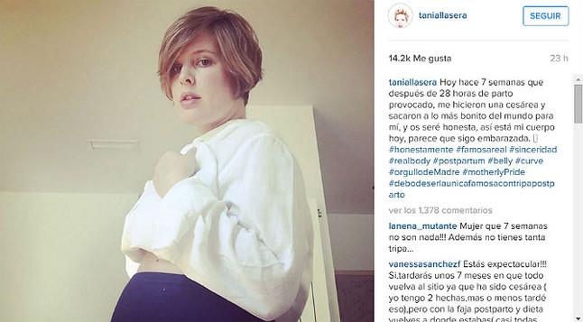 """Tania Llasera: """"Debo de ser la única famosa con tripa posparto"""""""