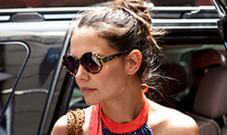 La actriz Katie Holmes, este jueves, en Nueva York.