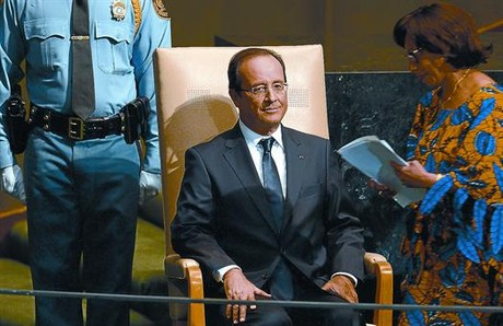 Franois Hollande, antes de hablar ante la ONU, el mircoles en Nueva York.