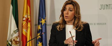 Díaz, tras la reunión del Gobierno andaluz, este martes.