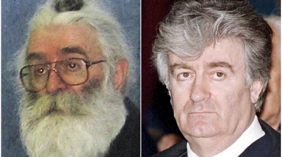 Combo de fotos de Karadzic, antes de su arresto en Belgrado (izq) en el 2008, y en una sesión parlamentaria en febrero de 1995.