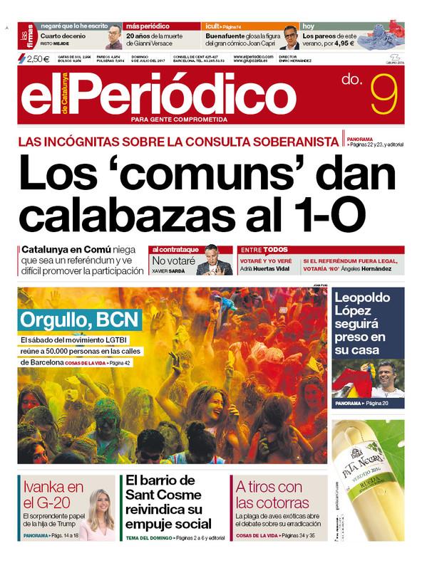 La portada de EL PERIÓDICO del domingo, 9 de julio del 2017.