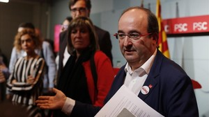 Miquel Iceta tras la reunión de la ejecutiva del PSC