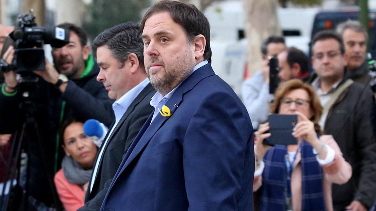 Oriol Junqueras, a su llegada a la Audiencia Nacional.