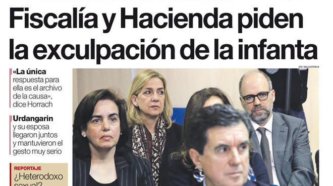 'Fiscalia i Hisenda demanen l'exculpació de la infanta', a la portada d'EL PERIÓDICO DE CATALUNYA