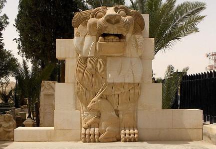 La estatua del le�n, del siglo I a.C., que el Estado Isl�mico ha destruido en Palmira (Siria).