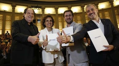Josep María Pou, Dolors Montserrat, Antoni Comín y Jaume Collboni, en el acto de apoyo a la sede barcelonesa de la AEM.