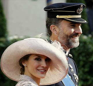 Los Prncipes de Asturias a su llegada a la boda del heredero de Luxemburgo