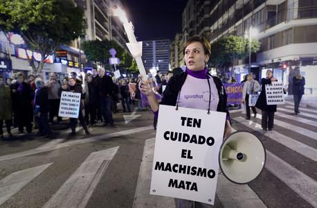 Imagen de archivo de una manifestación contra la violencia machista en Valencia.