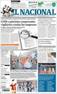 La portada de 'El Nacional'.