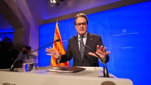 Mas, durante la comparecencia en la Generalitat, este mediodía.