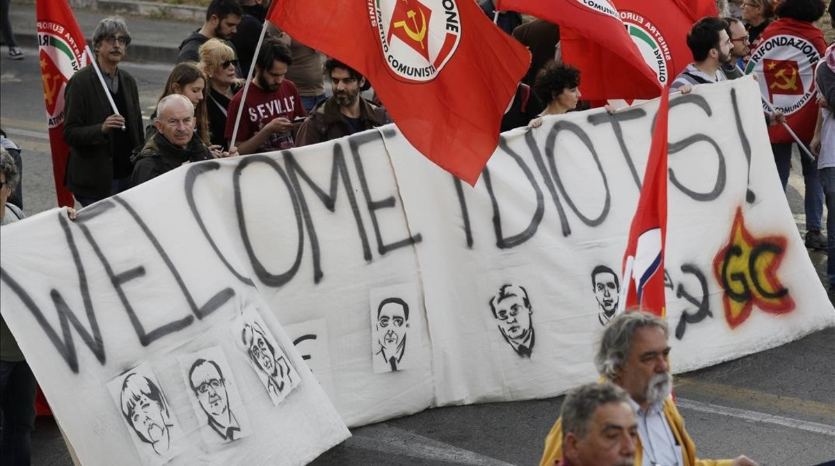 Manifestación contra la UE en Roma