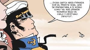 Viñeta de Equatoria, la nueva aventura de Corto Maltés firmada por Díaz Canales y Pellejero.