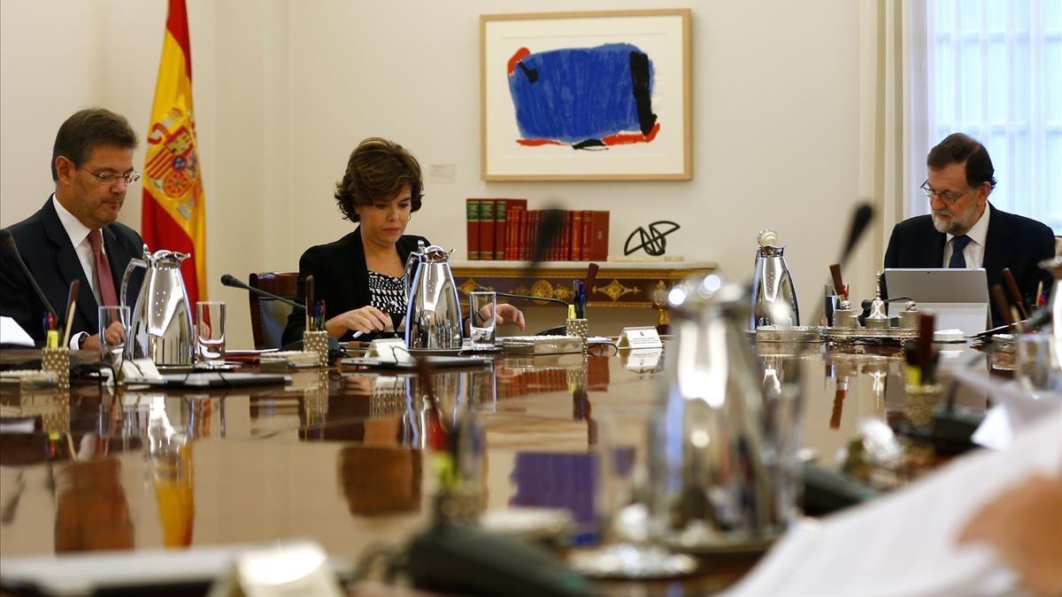 Consejo extraordinario de ministros reunido esta mañana.