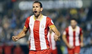 Christian Stuani celebra en Vigo uno de los goles que ha conseguido esta temporada
