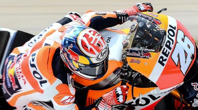 Dani Pedrosa (Honda), en su vuelta rápida de hoy en Montmeló.