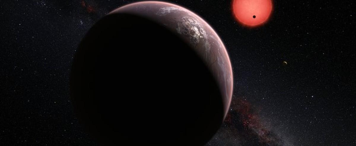 Ilustraci�n de la estrella enana ultrafr�a TRAPPIST-1 y de sus tres planetas