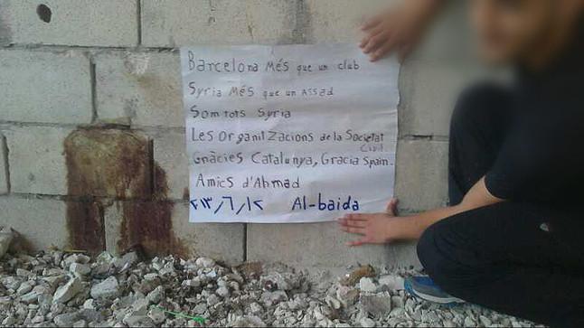 Los amigos del 'ni�o del Bar�a' sirio agradecen el apoyo espa�ol a su campa�a