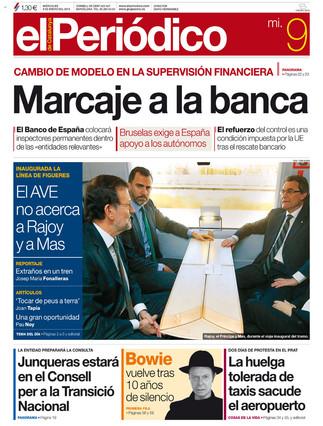 """""""Marcaje a la banca"""", en la portada de EL PERIÓDICO DE CATALUNYA"""