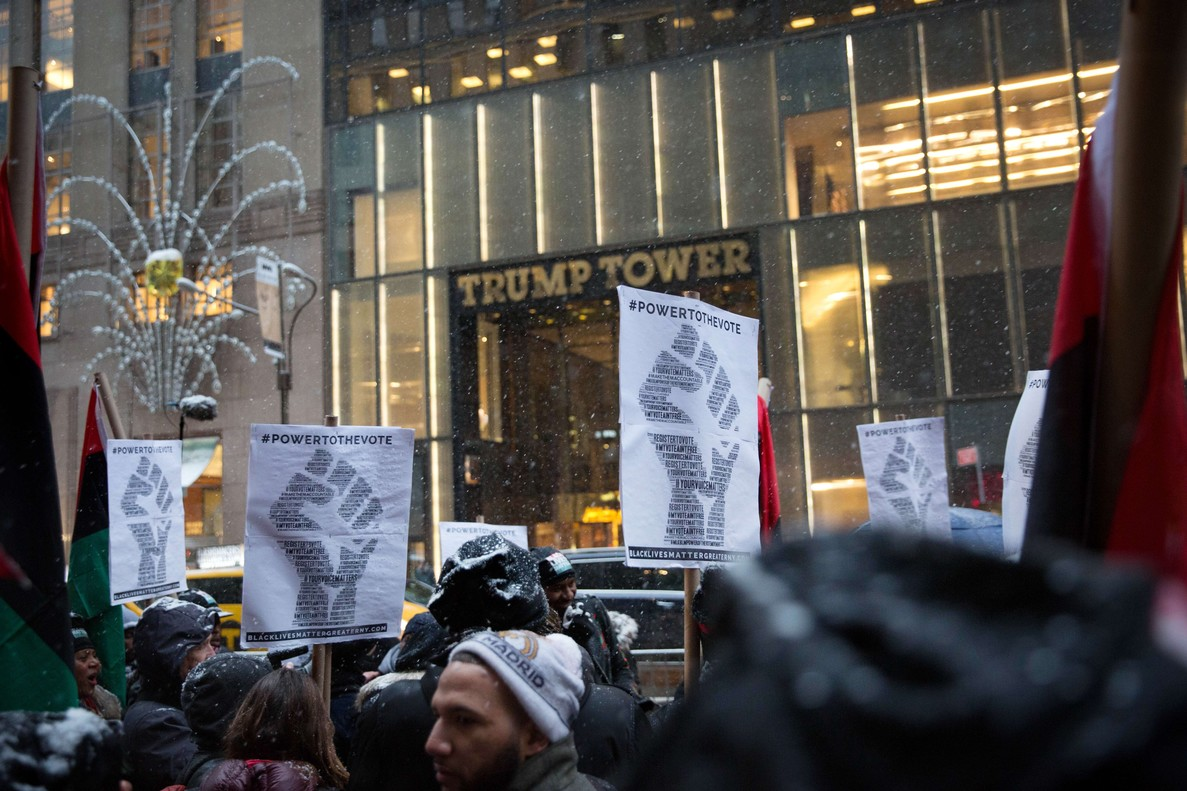 Black Lives Matter Organizes March To Trump Tower Ahead Of Martin Luther King Day