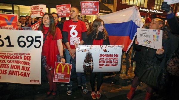 Manifestaciones en contra de la política antihomosexual rusa.
