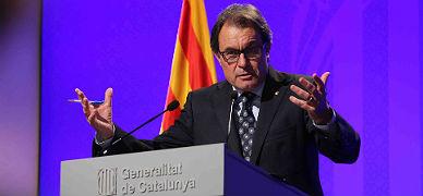 El 'president' Mas, durante la rueda de prensa que ha ofrecido este viernes en el Palau de la Generalitat.