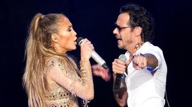 Jennifer Lopez y March Anthony, durante su actuación en República Dominicana.