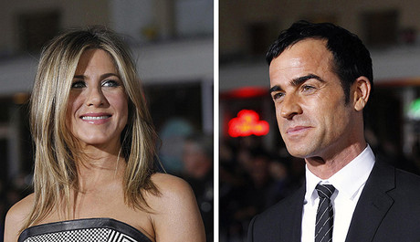 Jennifer Aniston y Justin Theroux, en febrero.