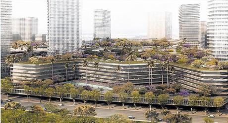 Cuatro im�genes de c�mo quedar�a BCN World si el plan urban�stico del Govern les permitiera esas dimensiones.