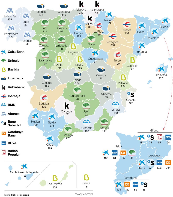 Bancos con m s oficinas por provincia en espa a for Sucursales banco espana