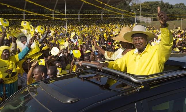 El presidente de Uganda, Yoweri Museveni, durante la campaña electoral.