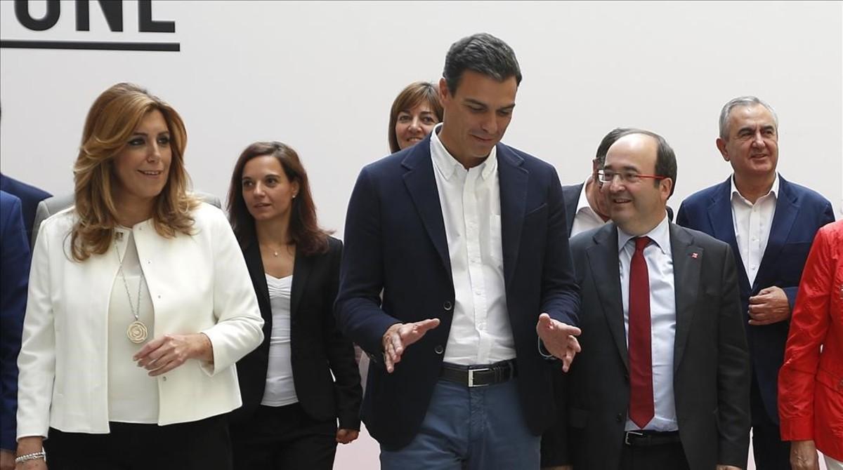 Susana Díaz, Pedro Sánchez y Miquel Iceta, en septiembre del 2015 en Madrid.