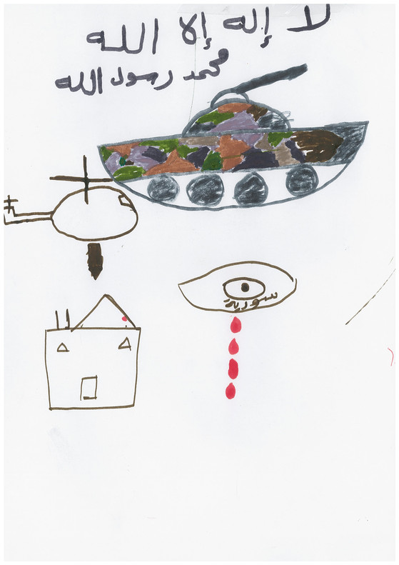 Dibujos realizados por niños sirios en el 2015 y cedidos por la oenegé Save The Children. Los dibujos formaron parte de una exposición en la estación central de Milán, un punto habitual de tránsito para las familias refugiadas que se dirigen al norte de Europa. El nombre y la edad de los niños se ha omitido para proteger su identidad.