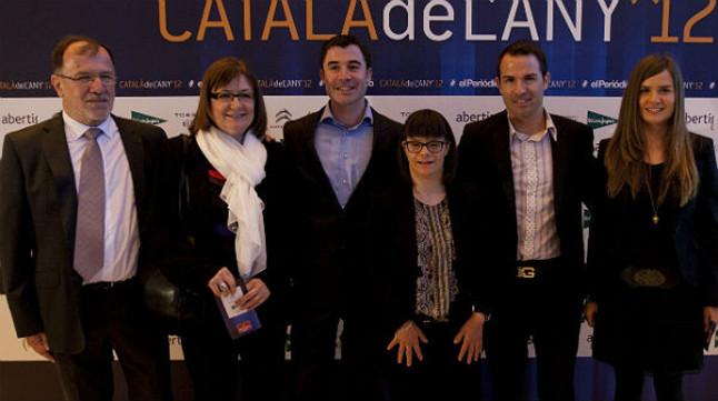 La finalista del Català de l'Any Anna Vives, con sus padres, Narcís y Montserrat, y sus hermanos.