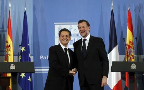 Sarkozy y Mariano Rajoy durante la comparecencia en La Moncloa.
