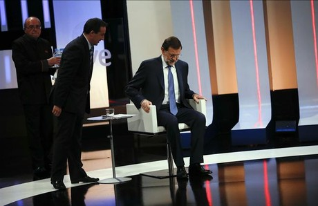 El presidente Mariano Rajoy, poco antes de su entrevista en TVE-1&amp;#160;