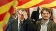 Artur Mas y Oriol Pujol, durante la noche electoral, en el Hotel Majestic de Barcelona.