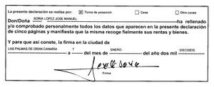 Firma de José Manuel Soria en la declaración de bienes que presentó en el Congreso.