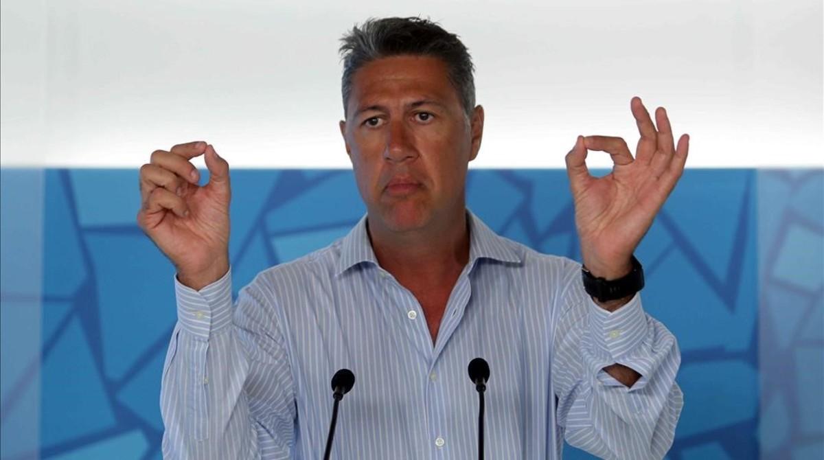 El presidente del PPC, Xavier García Albiol, en una rueda de prensa.