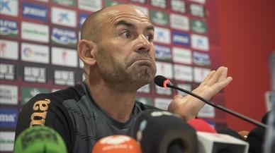 J�mez, en la rueda de prensa de despedida como entrenador del Granada.
